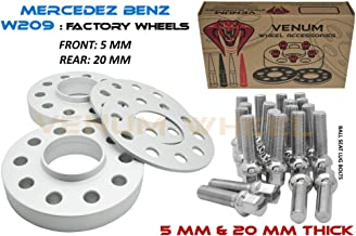 4 Pc Staggered Set 5mm & 20mm Mercedes W209 2003-2009 CLK Hub Centric Wheel Spacer + 20pc 12x1.5 Ball Seat Chrome Bolts …