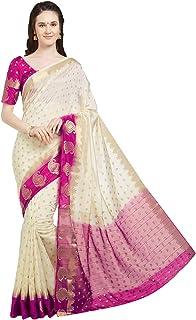 Viva N Diva Sarees Women`s Banarasi Art Silk Saree with Unstitched Blouse Piece, Wedding Sari
