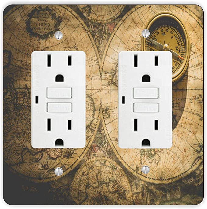 Duplex Outlet Compass Decorative Light Switch Cover Plate or GFCI Roker Vintage Exploration 2 gang Single Toggle