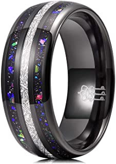 THREE KEYS JEWELRY 8mm Galaxy Rings with Opal & Meteorite Inlay Wedding Bands for Men