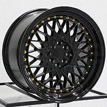 AodHan Wheels Rim AH-05 15x8 4x100/114.3 73.1CB +20 FULL BLACK (GOLD RIVET)