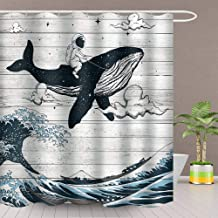 AJDSM Whale Shower Curtain Astronaut Riding on a Whale Sea Waves Bathroom Decoration Set Polyester Fabric 72x72 Inch with Hook