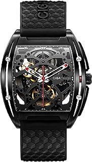 ساعت مچی CIGA Design Z سری اتوماتیک مکانیکی بند سیلیکونی اسکلت استیل DLC Dial Tonneau ساعت مچی با کریستال یاقوت کبود مصنوعی برای انسان