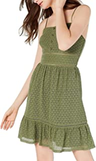 City Studio Juniors' Eyelet Flutter-Hem A-Line Dress Dark Green Size 13
