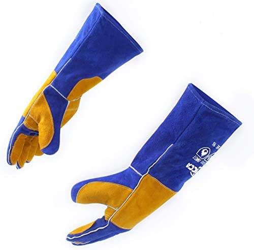 RAPICCA 16 Inches,932℉, Leather Forge/Mig/Stick Welding Gloves Heat/Fire Resistant, Mitts for Oven/Grill/Fireplace/Fu...