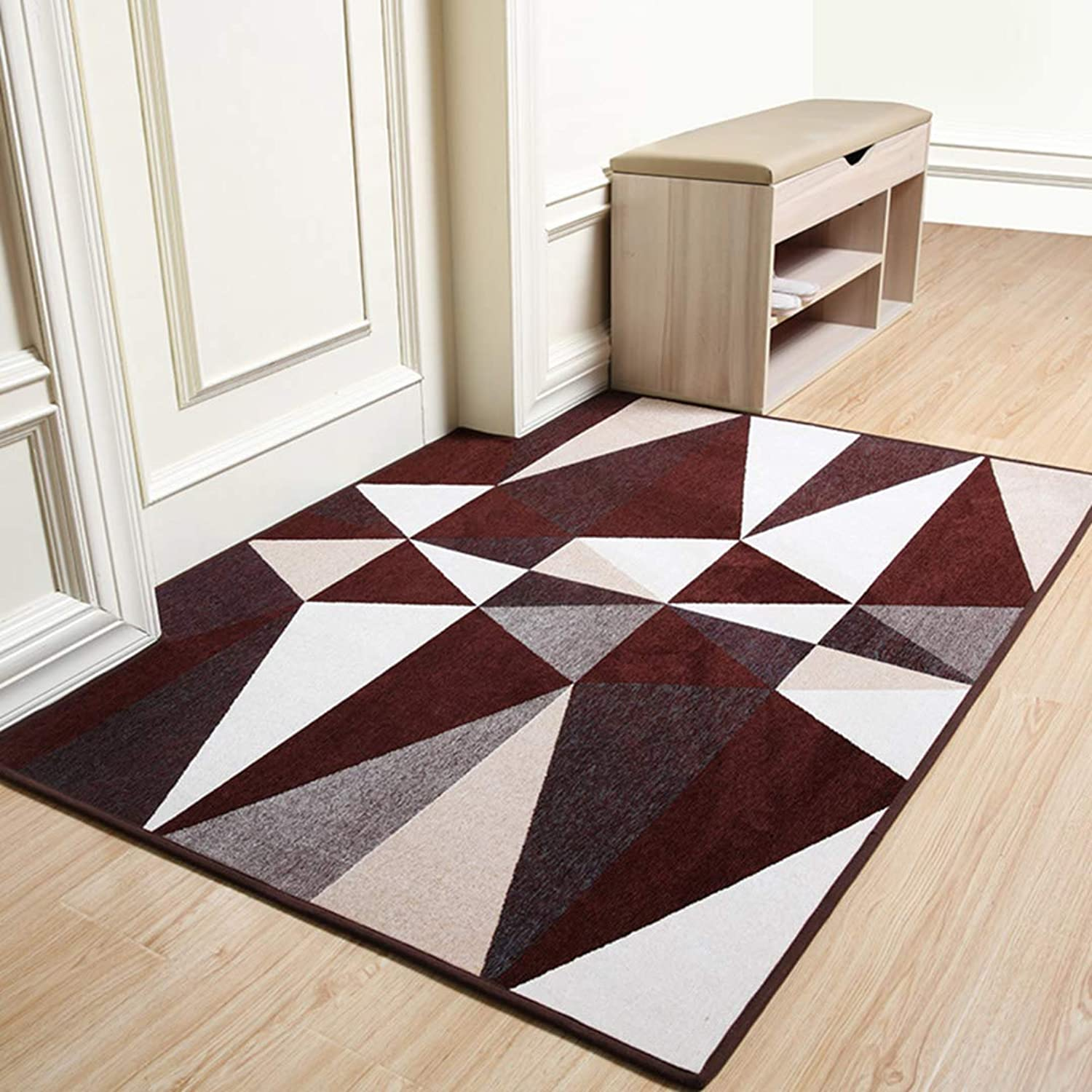 Door mat,Carpet Rug Geometric Pattern Non-Slip Bathroom Indoor Outdoor mats Front Door Rug-Coffee 50x80cm(20x31inch)
