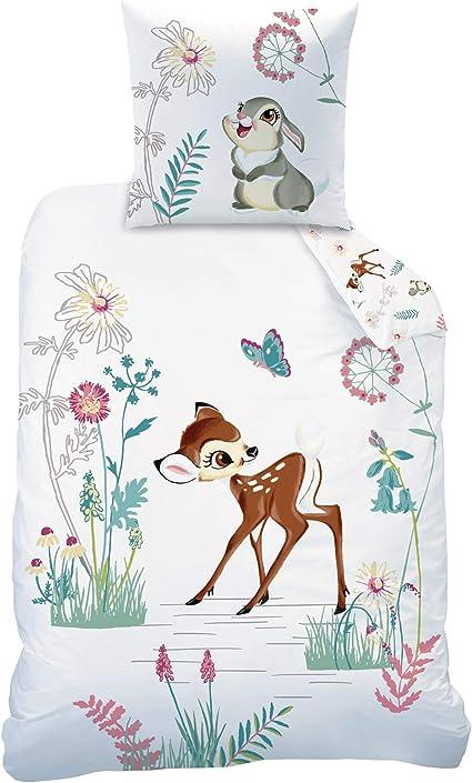 Disney Set Di Biancheria Da Letto Per Bambine Motivo Bambi Bambi E Tippete Composto Da 1 Federa 80 X 80 Cm E 1 Copripiumino 135 X 200 Cm 100 Cotone Amazon It Casa E Cucina