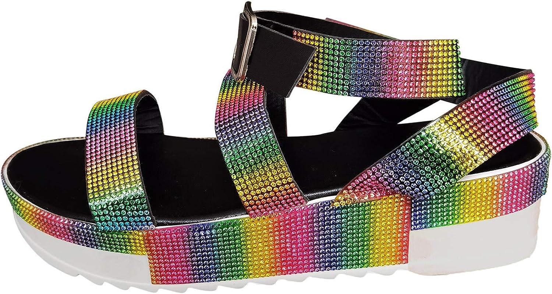 Platform Strappy Rhinestone Sandals for Women, Comfortable Flat Sandals, Womens Slip On Flatform Sandals