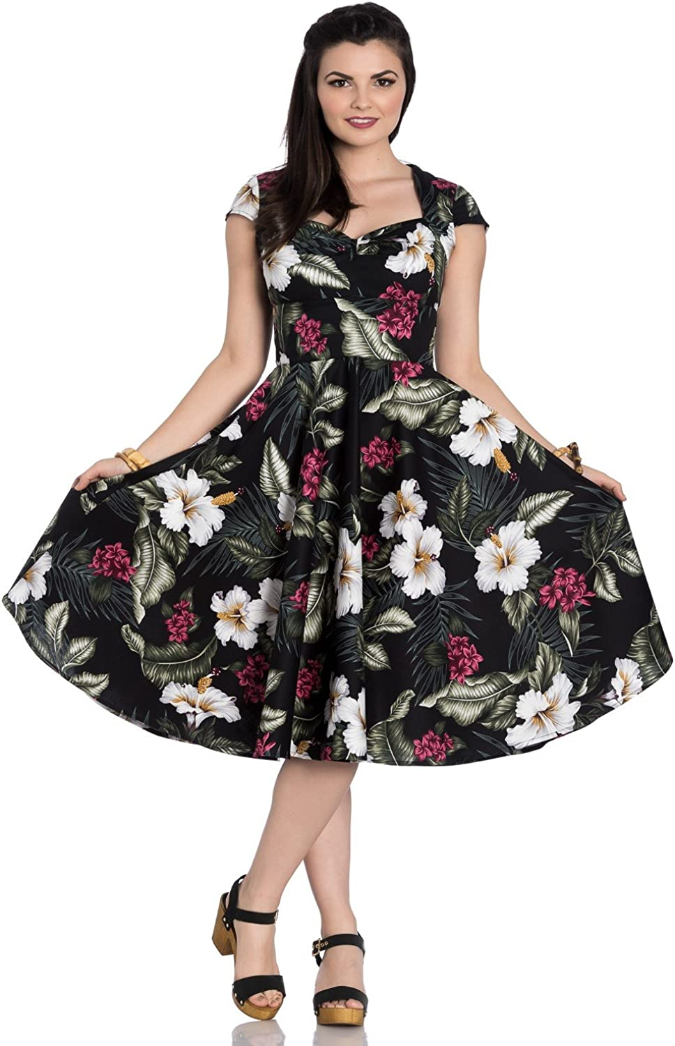 Hell Bunny Kalei 1950's Tropical Hibiscus Party Dress