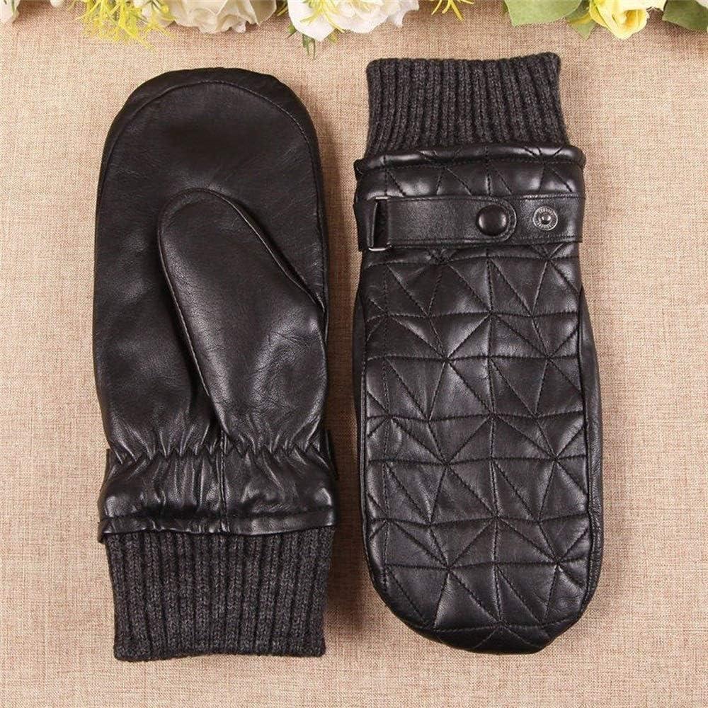 AiJia Thicken Women's Genuine Leather Gloves Autumn Winter Plus Velvet Thicken Sheepskin Fingerless Driving Mittens Gloves (Color : Black, Gloves Size : L)