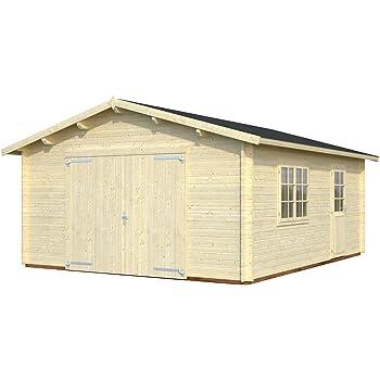 8 m/² TIMBELA M332 Blockbohlen Gartenhaus aus Massiv-Holz MIT Fu/ßboden Kiefer//Fichte Chalet 418 x 220 cm