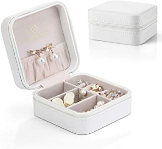 (White) - Vlando Small Faux Leather Travel Jewellery Box Organiser Display Storage Case for Rings Earrings Necklace (White)