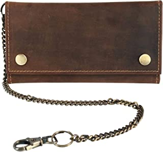CTM Men's Hunter Leather Long Trifold Chain Wallet