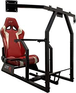 GTR Simulator GTAF-BLK-S105LRDWHT - GTA-F Model (Black) Triple or Single Monitor Stand with Red/White Adjustable Leatherette Seat, Racing Simulator Cockpit Gaming Chair Single Monitor Stand