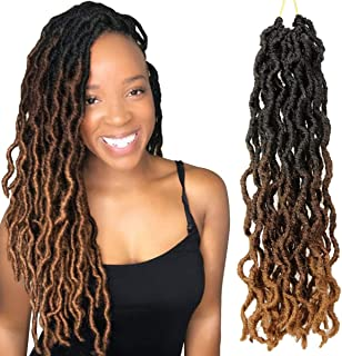 Eerya 6Pcs Gypsy Faux Locs Crochet Braids Hair Pre-Looped Goddess Faux Locs Wavy Twist Hair Dreadlocks Nu Locs Synthetic Braiding Havana Mambo Twist Hair Extensions (14Inch, 3 Tone Ombre T1B/30/27#)
