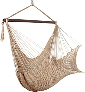 Bathonly Large Caribbean Hammock Hanging Chair with Footrest, Large Hammock Net Chair, Polyester