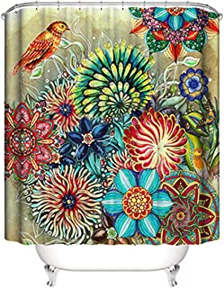 Boho Shower Curtain Floral Shower Curtain for Bathroom 72 x 72 Inches Colorful Bright Polyester Fabric Bath Curtain with 12 Hooks - Yellow