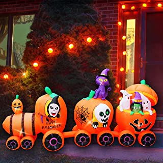 SEASONBLOW 9 Ft Halloween Inflatable Pumpkin Train with Ghost Witch Cat Decoration Blow up Decor for Lawn Patio Indoor Out...