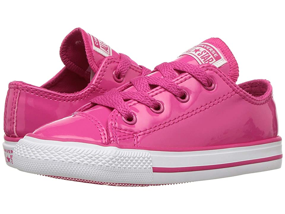 Converse Kids Chuck Taylor All Star Patent Low (Infant/Toddler) (Pink Pop/Pink Pop/White) Girl