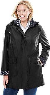 Women's Plus Size Raincoat In New Short Length With Fun Dot Trim