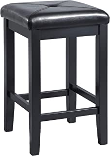 Crosley Furniture Upholstered Square Seat Bar Stool (Set of 2), 24-inch, Black