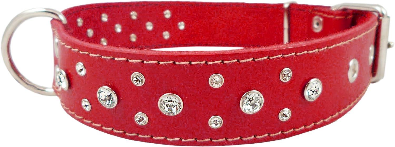Genuine Red Leather Rhinestone Dog Collar 1.6x27  Fits 19 24  Neck