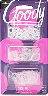 Goody Ouchless Womens Polyband Elastic Hair Tie - 250 Count, Clear - Fine Hair - Hair Accessories to Style With Ease and K...