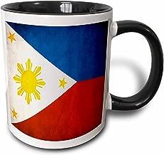 مج 3dRose _28282_4 عليه علم الفلبين- مج أسود اللون ذو لونين، سعة 325 مل، متعدد الألوان