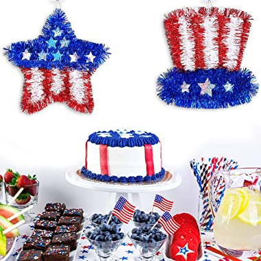 4 Pcs Patriotic Tinsel Wreaths Assorted Foil Patriotic Star Heart Top Hat Signs Red Blue White Hanging Patriotic Tinsel Wall Decorations for 4 of July Memorial Day Independence Day Door Window Mantel