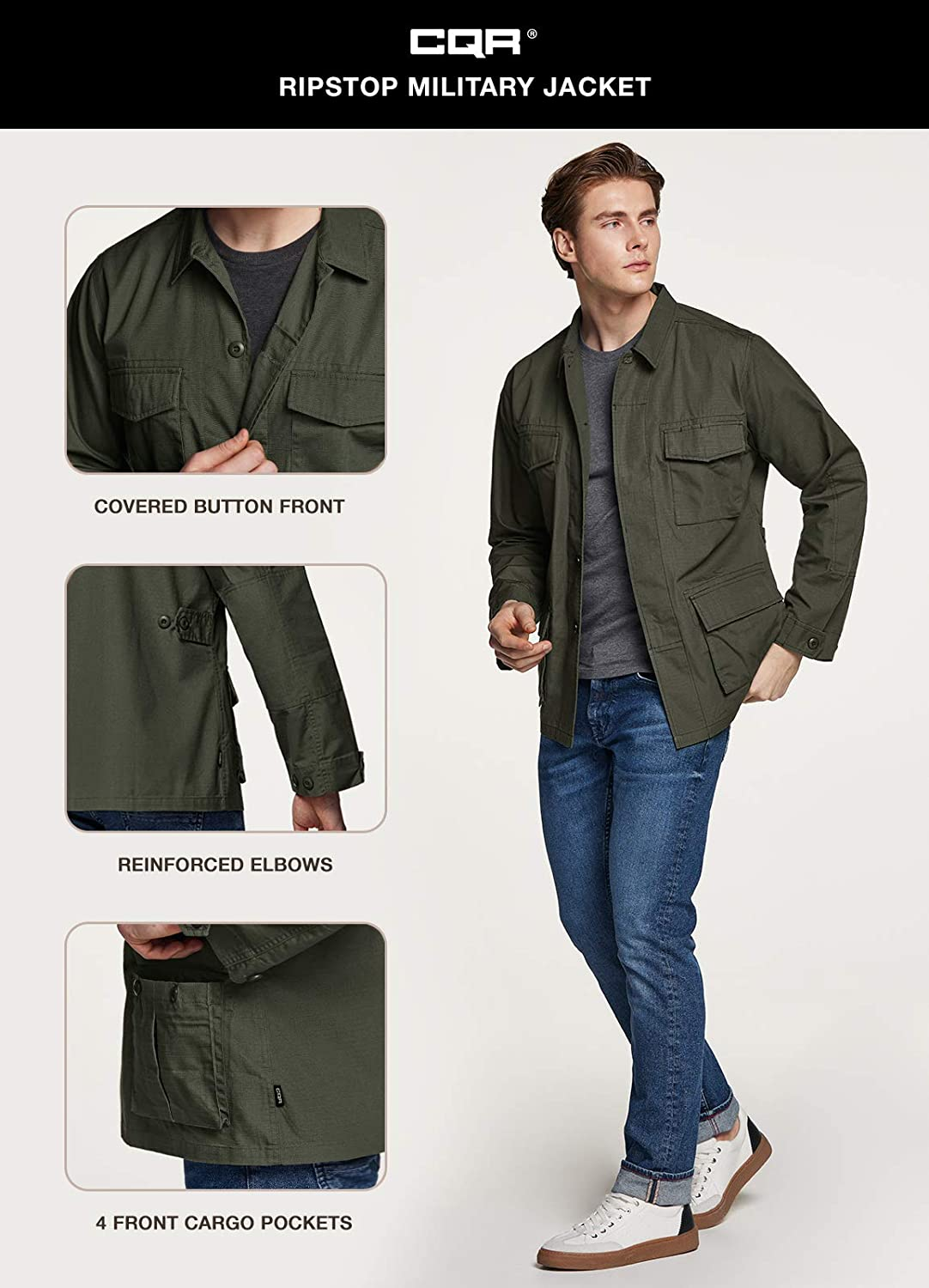 Water Repellent Field Army Jackets Outdoor Ripstop Utility Jackets CQR Mens Casual Military Jacket