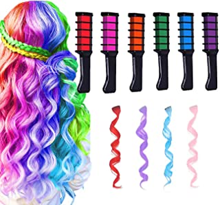 New Hair Chalk Comb for Girls Kids Temporary Hair Color Chalk for Kids Girls Gifts Age 4 5 6 7 8 9 10+4Pcs Hair Extensions, Washable Hair Dye for Easter Children's Day Birthday Gift Cosplay Party