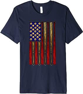 Vertical Baseball American Flag Premium T-Shirt