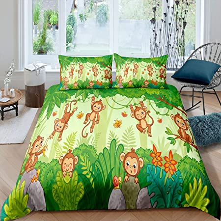 Feelyou Cartoon Penguin Bedspread for Girls Boys Children Cute Funny Animal Printed Quilted Coverlet Decorative Lovely Polar Animal Coverlet Set Green Stripe Lines Quilted King Size 3Pcs