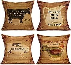 Smilyard Farm Farmhouse Pillow Covers Cotton Linen Vintage Cow Milk PigHen Rustic Pillow Covers Square Animal Farmhouse Home Decor Pillow Cover Cushion Cover 18x18 Inch Set of 4 (Wood Farm Set)