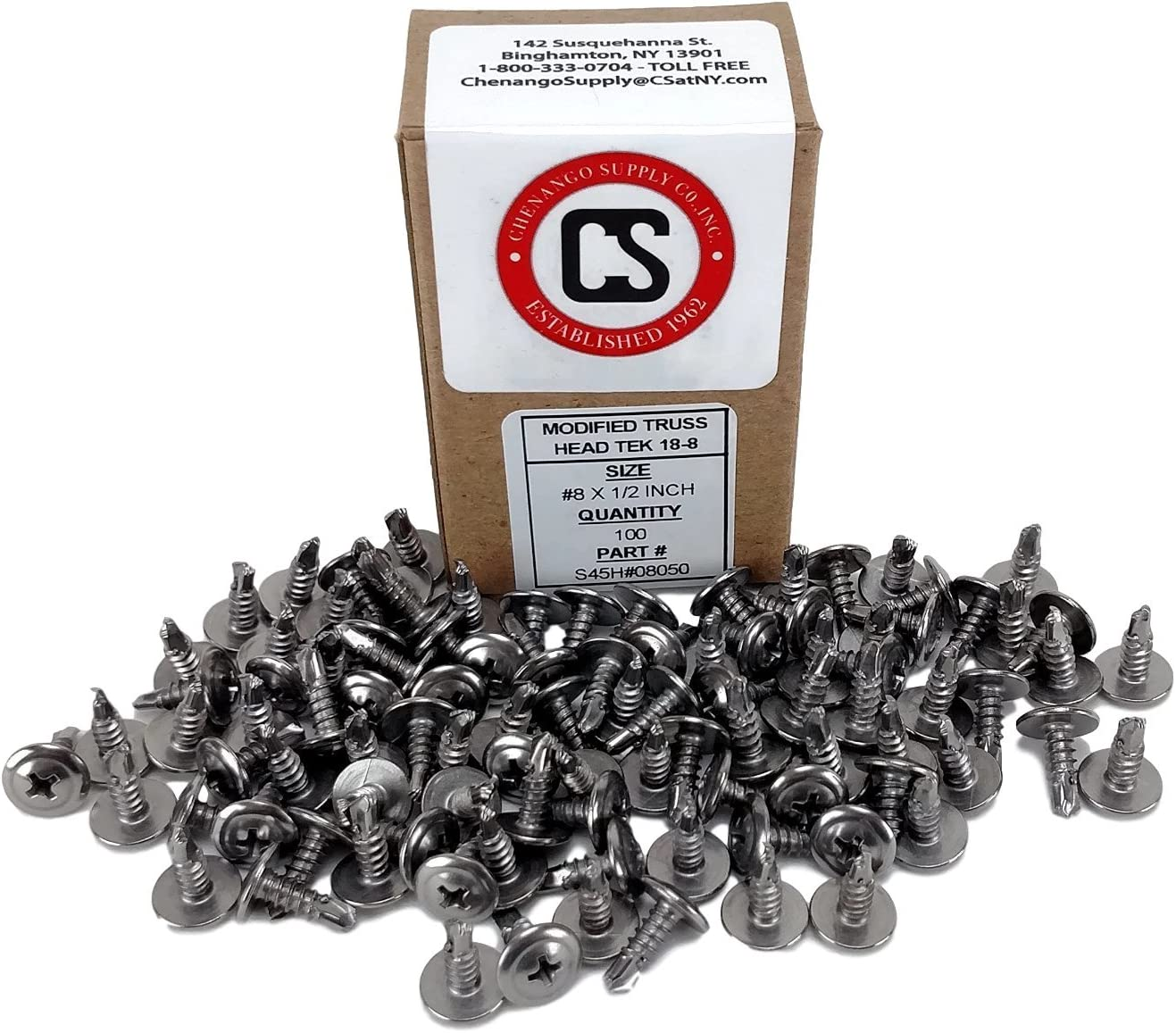 Modified Truss Head Self Driller 1//2 to 1-5//8 Length in Listing 100 Pieces #8 x 1 inch 410 Stainless #8 x 1 Wafer Head Philips Self Drilling Sheet Metal Tek Screws,