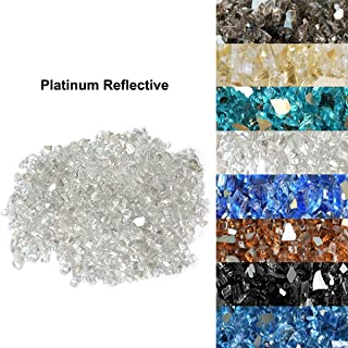 Skyflame 10-Pound Fire Glass for Fireplace Fire Pit and Landscaping, Platinum Reflective, 1/4-Inch