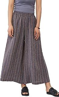 Ecupper Women's Elastic Waist Causal Loose Trousers 100 Linen Cropped Wide Leg Pants