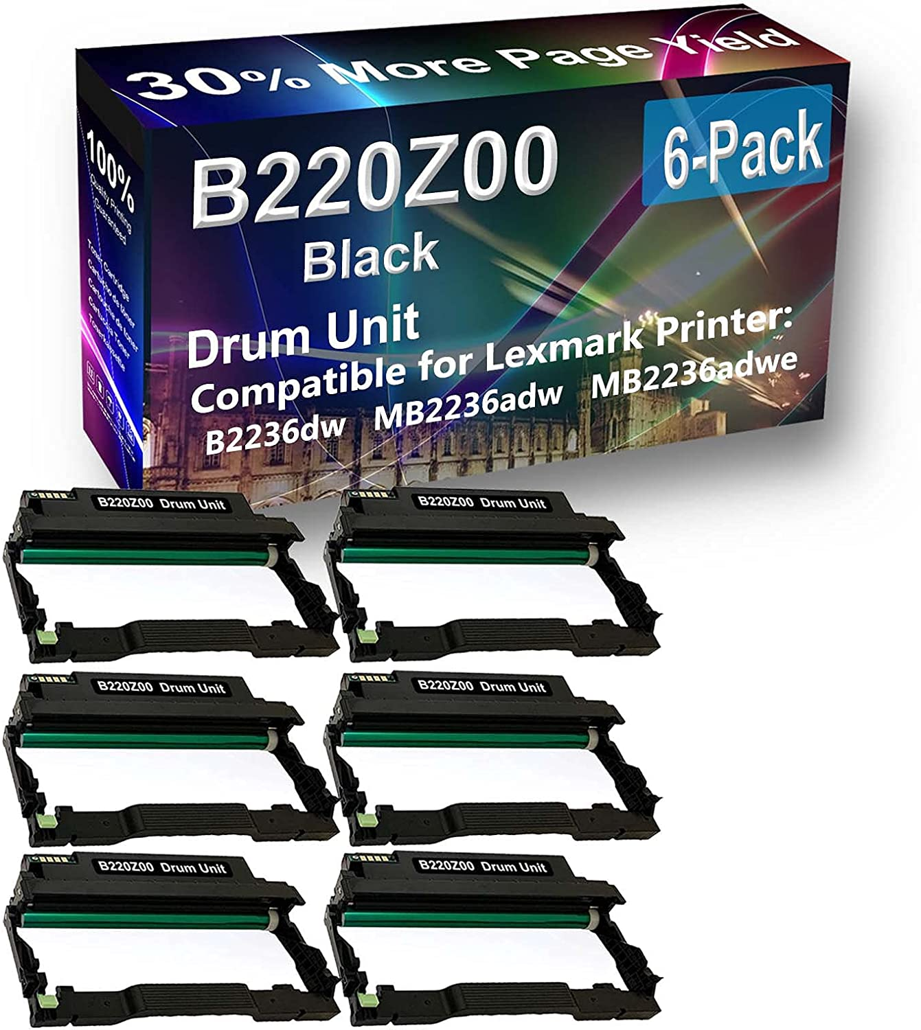 6-Pack Compatible Drum Unit (Black) Replacement for Lexmark E250X22G Drum Kit use for Lexmark E352 E352DN, E450, 450N, 450DN Printer