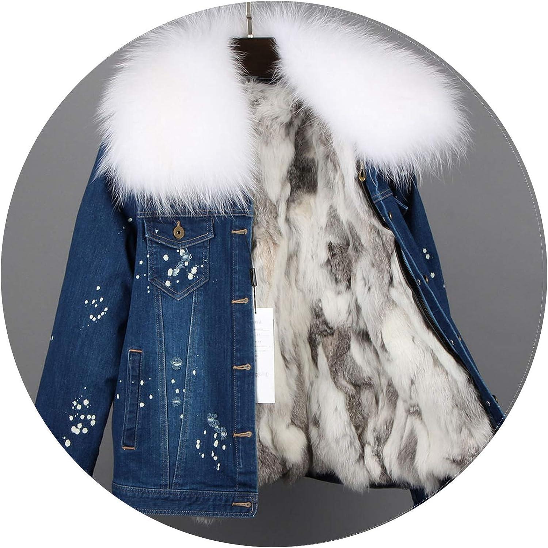 Kaured Stylish Women Denim Coat Girl Jacket Real Rabbit Fur Thick Lining Raccoon Bomber Jacket,25,L
