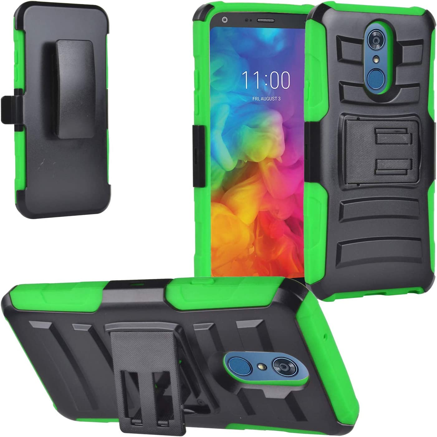 Eaglecell - for LG Q7, Q7+ Plus - Hybrid Case with Stand / Belt Clip Holster - SP01 Green