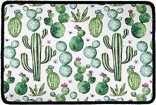 Pensura Cactus Green Pattern with Doormat Welcome Kitchen Living Room Floor Mats Indoor Outdoor Door Carpet 23.6x15.7 Inch