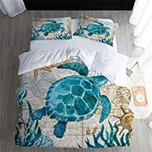 SDIII 3Pieces Turtle Bedding Aqua Turquoise Ocean Beach Themed Hawaiian Nature Style Full/Queen Size Tortoise Duvet Cover Sets