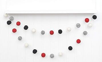 "Buffalo Plaid Felt Ball Garland - Red, Heather Gray, Black, White - 1"" (2.5 cm) felt balls"