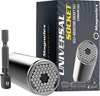 Magnelex Universal Socket Tool with Drill Adapter – Self-Adjusting Socket, Nut Driver with 54 Spring-Loaded Pins for Nuts ...