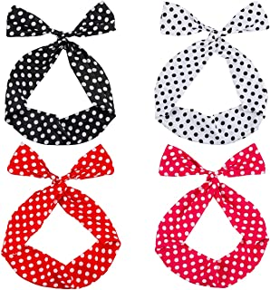 PAMASE 4 Pieces Retro Bowknot Polka Dot Headband- Stylish Polka Dot Wire Headband Hair Holders Cotton and Spandex Stretch Headwrap Headbands for Girls and Women (4 Styles)