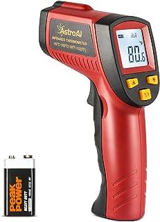 AstroAI Digital Laser Infrarot Thermometer, Berührungslos Temperaturmessgerät IR Pyrometer LCD Beleuchtung Temperaturmesser  50°C bis +550°C, Rot und Schwarz