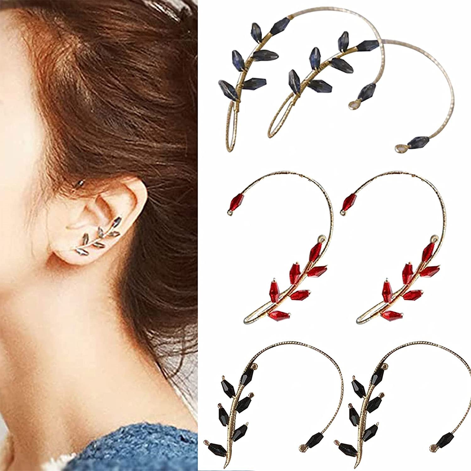 YAYANG Vintage Ear Cuff Earrings, No Piercing Beading Ear Hook, 2Pcs/1 Pair Ear Wrap Crawler Hook ?Earrings ?Wire Wrapping Beaded, Suitable for Women and Girls