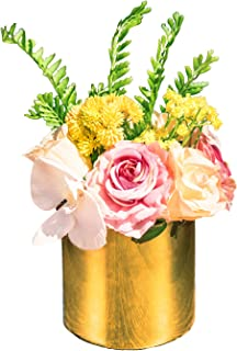 Fresh home, Artificial Flowers with Vase, Fake Phalaenopsis Rose with Golden Vase, Faux Flower Arrangements for Home Decor, Golden, Medium