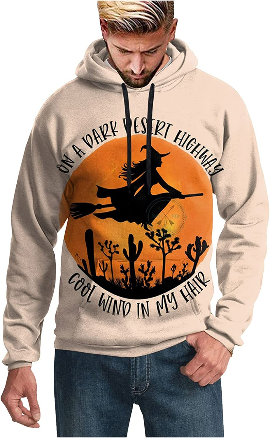 XXBR Hoodies for Mens, 3D Halloween Pumpkin Witch Black Cat Print Pullover Loose Casual Party Novelty Hooded Sweatshirts