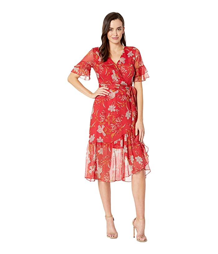 Vince Camuto  Tiered Ruffle Sleeve Wildflower Wrap Dress (Coral Sunset) Womens Dress